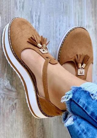 Tassel Hollow Out Platform Sandals - Brown