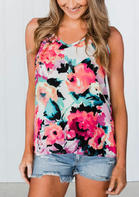 Summer Outfits Women Floral V-Neck Zipper Camisole