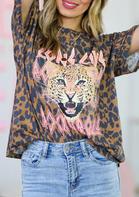 Summer Outfits Leopard Long Live Rock & Roll T-Shirt Tee