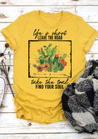 Summer Outfits Life Is Short Leave The Road Cactus T-Shirt Tee