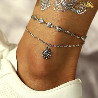Sunflower Vintage Dual-Layered Anklet