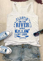 Summer New Arrivals Floatin' On The River Tank - Gray