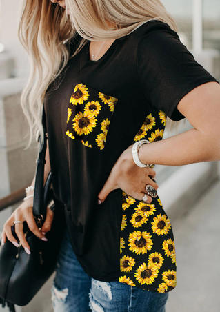 Sunflower Pocket T-Shirt Tee without Necklace - Black
