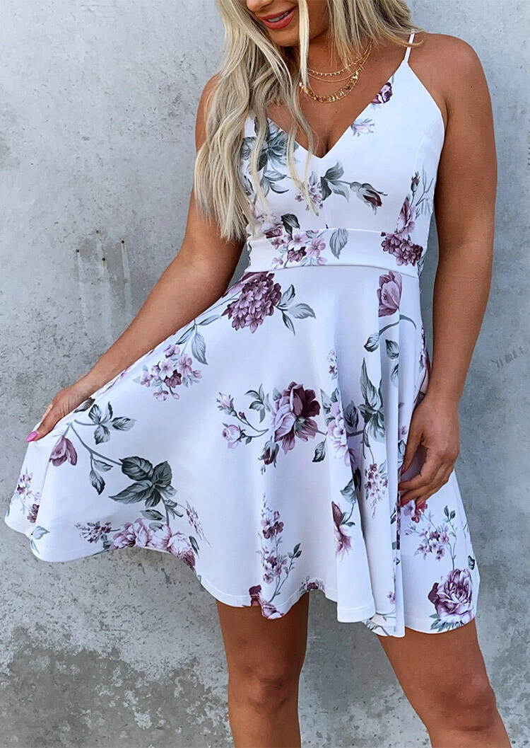 Floral Splicing Lace V-Neck Mini Dress