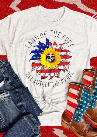 American Flag Sunflower T-Shirt Tee - Light Grey