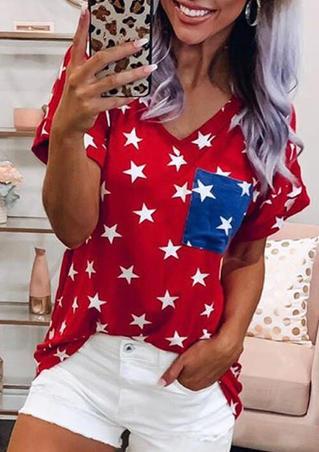 Star Pocket V-Neck T-Shirt Tee - Red