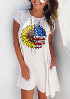 American Flag Sunflower Pocket Mini Dress without Necklace