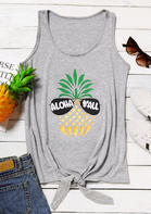 Summer Outfits Women Aloha Y'all Pineapple Goose Tie Tank