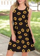 Summer New Arrivals Sunflower Sleeveless Mini Dress