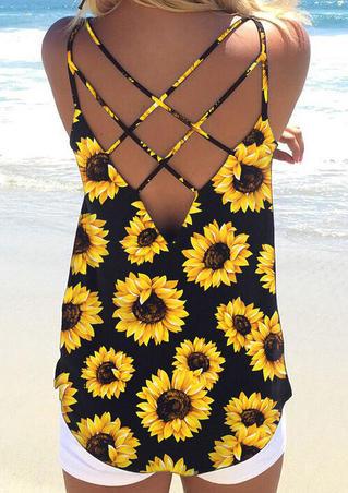 Sunflower Criss-Cross Camisole - Black