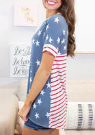 New Arrivals American Flag Star Striped T-Shirt Tee - Blue