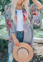 Summer Outfits Causal Floral Flare Sleeve Cardigan