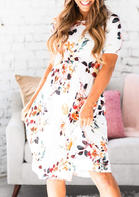 Summer New Arrivals Floral Pocket O-Neck Casual Dress - White