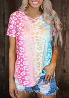 Gradient Color Criss-Cross T-Shirt Tee without Necklace