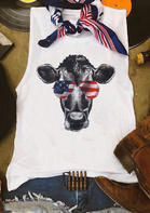 American Flag Sunglasses Cattle Tank