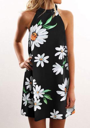 Daisy Open Back Sleeveless Mini Dress - Black