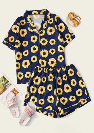 Sunflower Shirt And Shorts Pajamas Set - Navy Blue