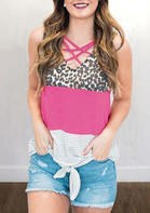 Leopard Color Block Criss-Cross Tie Tank