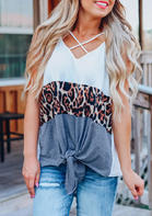 Summer Clothes Color Block Leopard Criss-Cross Tie Camisole