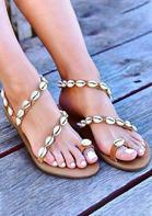 New Arrivals Summer Shell Strap Slip On Flat Sandals