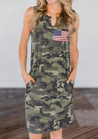 American Flag Star Camouflage Pocket Mini Dress