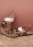 New Arrivals Leopard Round Toe Flat Sandals