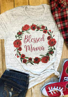 Floral Blessed Mama T-Shirt Tee