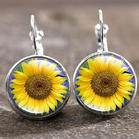 Summer New Arrivals Fashion Sunflower Round Earrings
