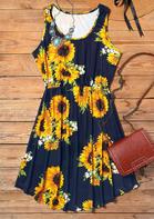 Summer Outfits Sunflower Sleeveless Mini Dress - Navy Blue