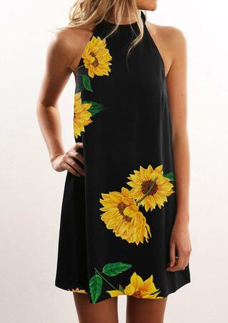 Sunflower Halter Casual Mini Dress - Black