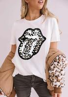 New Arrivals Women Leopard Lips O-Neck T-Shirt Tee