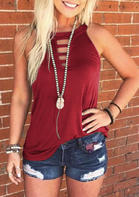 Summer New Arrivals Hollow Out Tank - Burgundy