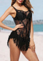 New Arrivals Lace Splicing Tassel Sexy Lingerie - Black