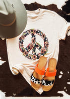 Summer Outfits Peace Symbol Floral T-Shirt Tee