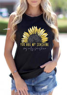 Summer Outfits Casual Sunflower You Are My Sunshine Tank - Black