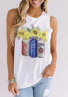Summer Outfits Sunflower Wine Bottles Casual Tank -White