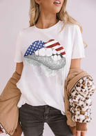 Summer Outfits New Arrivals Women American Flag Star Lips T-Shirt Tee - White