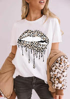 Summer Outfits Leopard Lips T-Shirt Tee - White