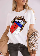 New Arrivals American Independence Day Flag Star Leopard Lips T-Shirt