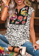 New Arrivals Women Leopard Flower Splicing V-Neck Blouse - White