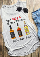Summer Outfits Women The Only 3 Men I Trust O-Neck Tank - Gray