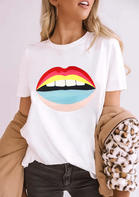 Summer Clothes Lips O-Neck T-Shirt Tee