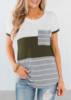 Summer Outfits Women New Arrivals Striped Pocket Color Block T-Shirt Tee