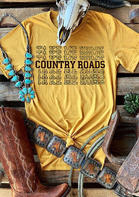 Take Me Home Country Roads T-Shirt Tee - Yellow