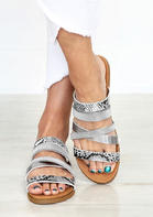 Summer Outfits Snake Skin Sequined Round Toe Flat Slippers