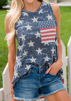 New Arrivals American Flag Pocket Star Tank - Blue
