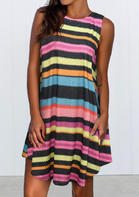 New Arrivals Colorful Striped Splicing Asymmetric Sleeveless Mini Dress