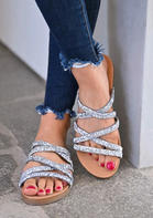 Rhinestone Cross Slip Flat Slippers