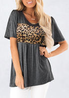 Summer Clothes Leopard Splicing Ruffled Blouse