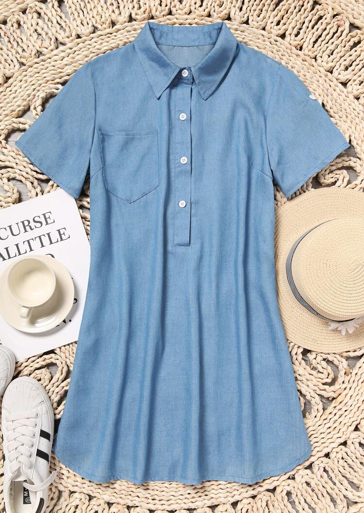 Solid Denim Asymmetric Mini Dress without Necklace - Blue